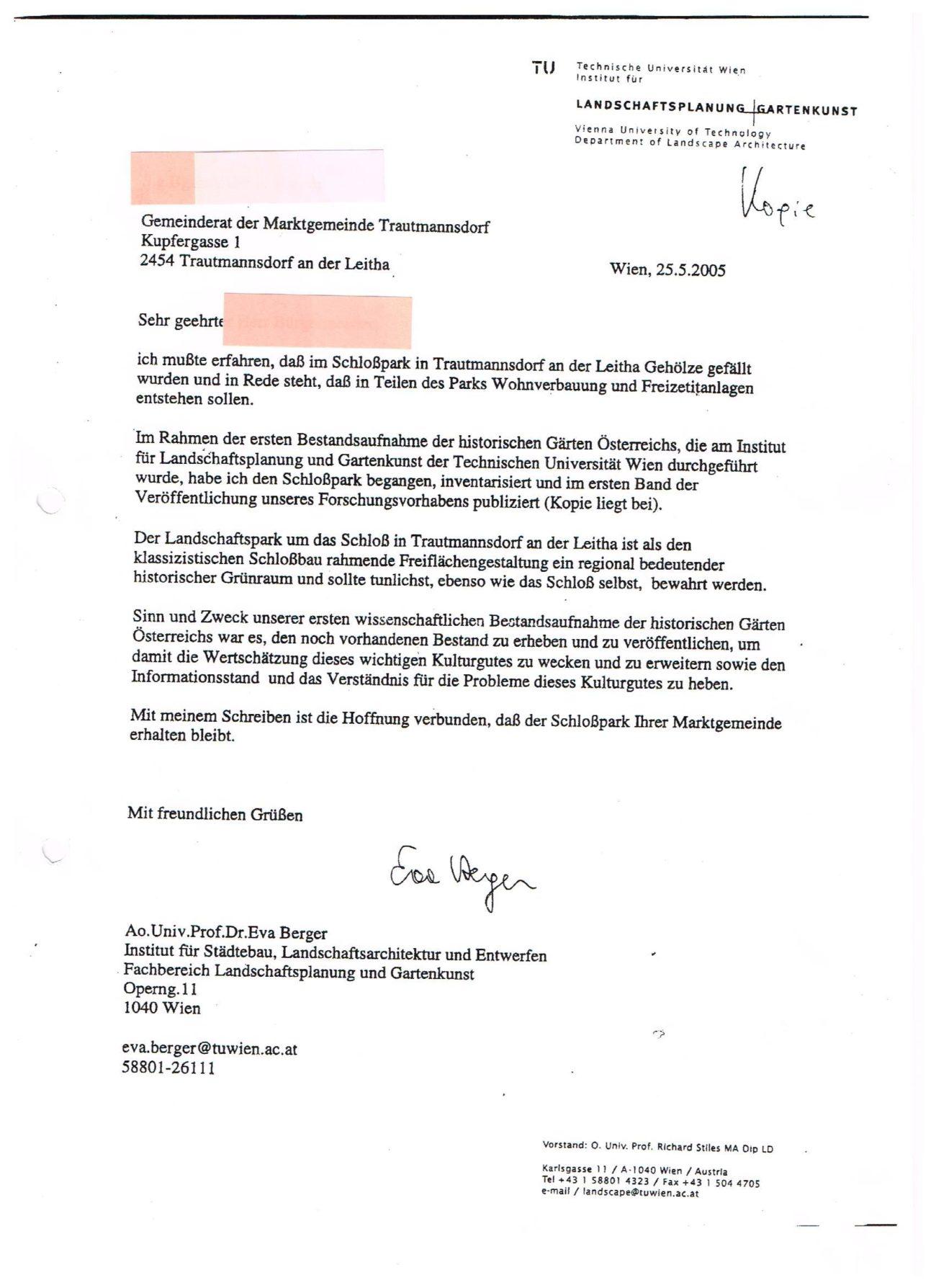 Stellungnahme Landschaftsarchitektut Univ Prof Berger